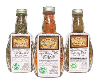 Artisan Spice Blend Trio - Herbs & Spices - Organic Dip Mix - Pasta Sauce Mix - Salad Dressing Mix - BBQ Grill Rub - All in One Bottle