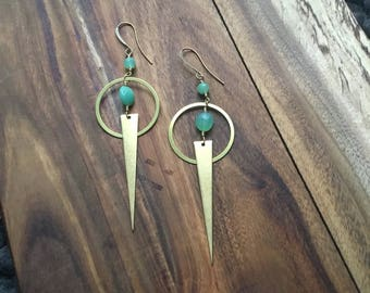Chrysoprase and brass earrings