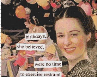 No Time to Exercise Restraint - Funny Vintage Retro Counted Cross-Stitch Pattern