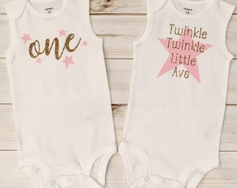 Twinkle Twinkle Little Star Themed Onesies, Personalized Onesie, First Birthday Shirt