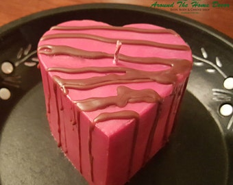 Chocolate Drizzled Strawberry Shortcake Heart Shaped 16 oz Soy Pillar Candle