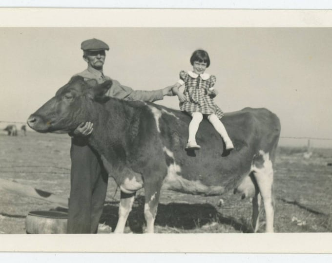 Vintage Snapshot Photo: Girl on Cow (711622)