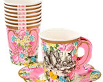 Truly Alice in Wonerland paper teacups with saucers x 12