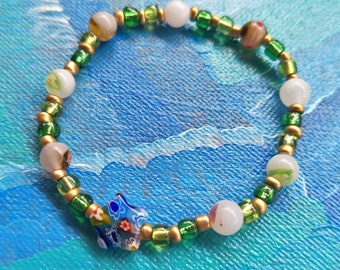 Beautiful Celestial Star Gold and Green Beaded Bracelet