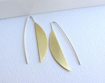 Half moon gold long earrings, Half circle earrings, Moon earrings, Brass earrings, Open hoop earrings, Geometric earrings, Gift for her