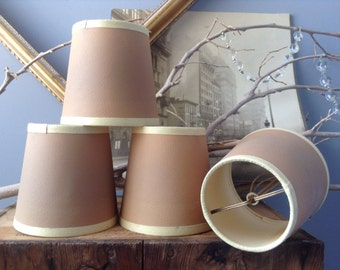 SUPPLIES...4 small vintage matching lamp shades ~ lamp parts ~ wire sculpture ~ art crafts ~ rustic home decor