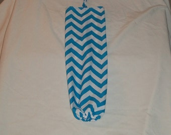 Blue and White Chevron Design Plastic Grocery Bag Holder
