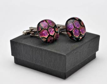 Purple hexagonal dichroic fused glass cufflinks