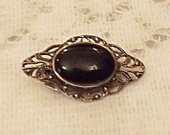 50s Vintage Dark Silver Filigree Black Glass Cabochon Brooch Pin