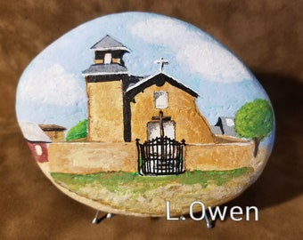 Old Truchas Mission of Holy Rosary painted rock