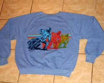 The Wild Bunch Motorcross Rainbow Heather Blue DEADSTOCK Pullover Sweatshirt L Vintage 1981