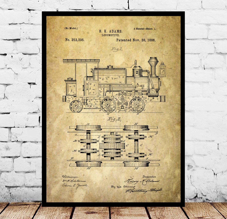 Locomotive print locomotive poster locomotive patent locomotive locomotive print locomotive poster locomotive patent locomotive art locomotive blueprint locomotive wall art train decor malvernweather Gallery
