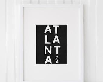 Atlanta Printable Art, Atlanta Art, Atlanta Poster, Georgia, Art Print, Wall Poster, Printable Atlanta Art, Typography Art, Black and White