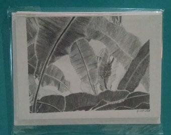 Banana Leaves Note card Set of 5