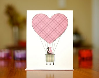 Pink Heart Hot Air Balloon I Love You Card with Kissing Couple on 100% Recycled Paper