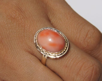 Pink Coral Gold Ring, Original And Genuine Oval Shape Pink Coral 14K Yellow Gold Ring Size 8 Jewelry