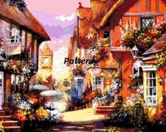 Flower street. Cross Stitch Pattern. PDF Files.