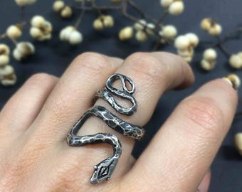 Garden Snake Ring - Sterling Silver or Bronze - inspired by central Texas Garden Snakes - Jamie Spinello