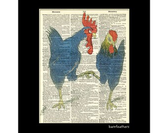 Chicken Love -  Dictionary Art Print - Rooster Hen - Farm Decor - Book Page Art print No. P179