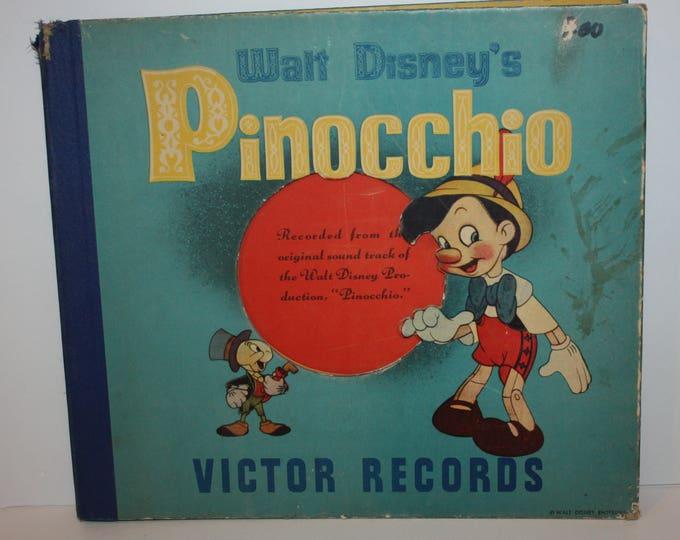 RCA Victor Records Walt Disney's Pinocchio 3 Record Set 78 RPM 1930's