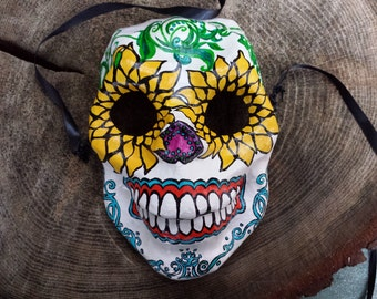 Papier-mâché Skull Mask with Sunflower Eyes