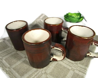 Ceramic cups set of four, Small brown pottery mugs, Vintage Norway mugs, Shot cups 100 ml, Christmas cups, Mulled wine, Cider cups
