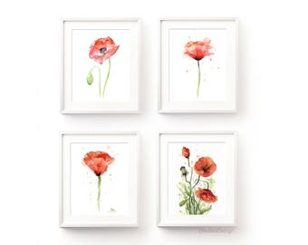 Poppies Watercolor Art Prints Red Poppy Art Prints Poppy Wall Art Red Flowers Decor Poppy Painting Abstract Poppy Art Set of 4 Giclee Prints