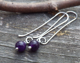 Amethyst sterling silver long dangle earrings