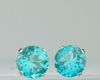 MothersDaySale Apatite Stud Earrings Sterling Silver 6mm Round 1.80ctw