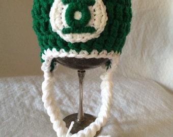 Green Lantern Crochet Earflap Hat size newborn