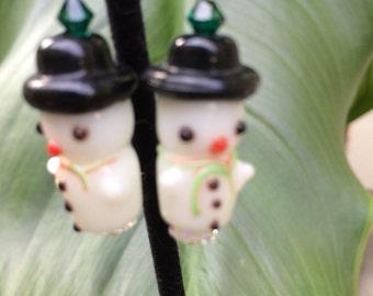 Lampwork Snowman Earrings