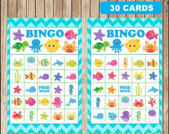Printable 30 Under The Sea Bingo cards; printable Under The Sea Bingo game, Under The Sea party Game instant download