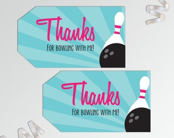Bowling Party Favor Tags - Bowling Thank You Tags - Bowling Favor Tags - Printable Favor Tags - Party Favor Tag - Bowling Birthday Favor Tag