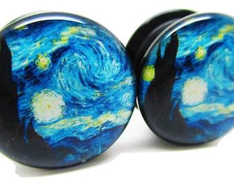A Starry Night Ear Plugs - Acrylic Screw-On - New - 8 Sizes - Van Gogh - Pair