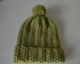 Apple green wool slouchy beanie