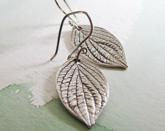 Leaf Earrings, Recycled Silver, Fine and Sterling Silver, Handmade by SilverWishes