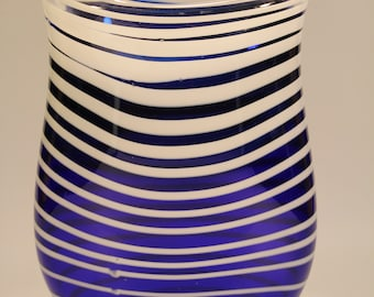 Blue and White Striped Handblown Glass Vase