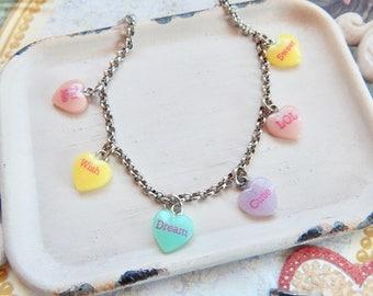 Conversation hearts bracelet - Valentine's Day jewelry - conversation hearts