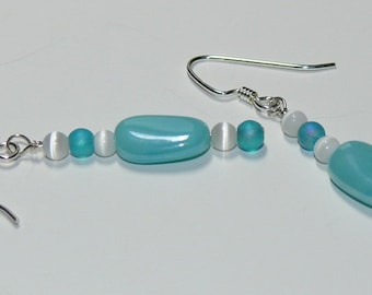 Czech Glass Light Aqua Luster Blue Sterling Silver Dangle Handmade Earrings