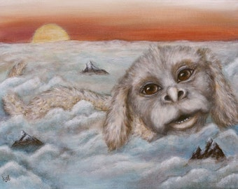Luck Dragon Above the Clouds giclee print of original acrylic painting Neverending Story, children wall art