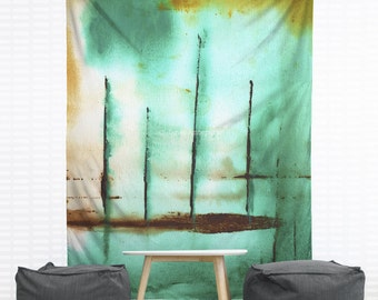 Piers Hanging Wall Tapestry, Home Decor, Dorm, Nautical, Stripes, Abstract Painting, Modern Art, Green Painting, Headboard Tapestry, Lines