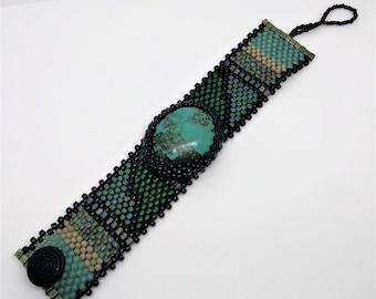 Jewelry - Free Form Peyote Stitch Beaded Bracelet CUFF - Bead Weaving - Turquoise - BOHO