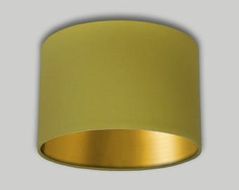 Mustard Yellow Drum Lampshade Brushed Gold Inner Lightshade Lamp Shade 20cm 25cm 30cm 35cm 40cm 50cm 60cm 70cm