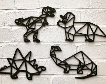Geometric Dinosaurs set of 4 - wooden dinosaurs - Dinosaur Decor - Monochrome Nursery - Childrens bedroom decor - dinosaur wall art
