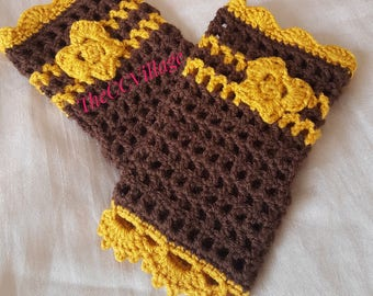 Crochet Fingerless Gloves, wrist warmer fingerless mittens, winter gloves fingerless arm warmers with butterfly