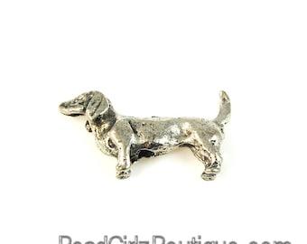 Dachshund Silver Pewter Dog Bead -1