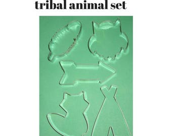 Tribal cookie cutter set  with animals teepee cookie cutter, R feather cookie cutter, arrow cookie cutter,  fox cookie cutter owl cookie