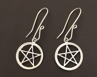 Silver Threepence Pentacle Earrings