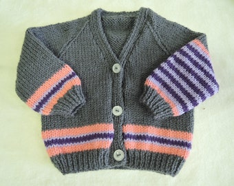 Baby Cardigan Jacket Unique Hand Knitted 16 Inch 3-6 Months