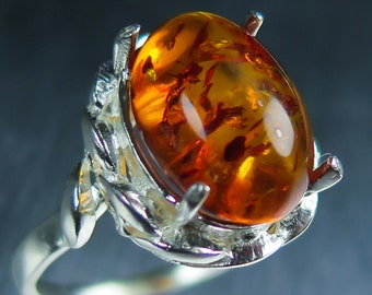 2.10cts Natural Orange Baltic Amber sterling 925 silver engagement ring all sizes